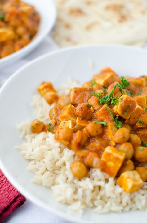 Slow Cooker Butter Chickpeas and Tofu! Packed with protein, vegan and gluten free. A healthier take on everyone's favorite Indian dish.