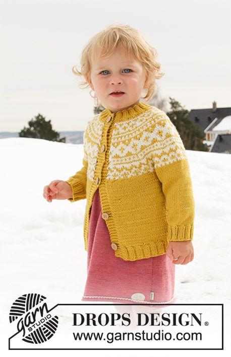 6d4f6a17b0feb9 DROPS Lima lõngast ülevalt alla kootud ümara passega ja Norra mustriga  beebi / laste kardigan suurustele 12 kuune kuni 12 aastane