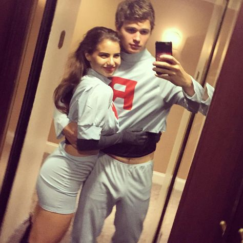 These Are the Some of the Most Iconic Costumes Celebrity Couples Have Worn For Halloween Pin for Later: Celebrity Couples Halloween Costumes Ansel Elgort and His Girlfriend as Team Rocket From Pokémon