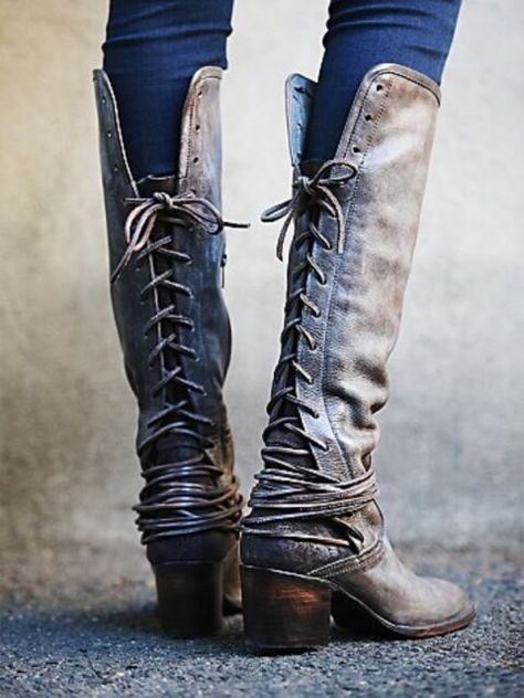 Coal Washed leather tall boots, featuring tonal suede backs with leather lacing that wraps multiple times around the ankle and laces up to topline. Partial side zips and wooden block heels. *By Freebird by Steven