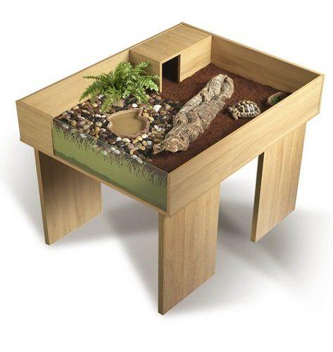 Tortuguera Terrario de madera Vivexotic para Tortugas de Tierra con mesa y extension