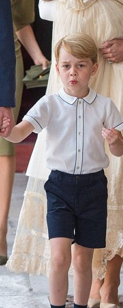 Prince George Of Cambridge Was Seen Attending His Little Brother S Christening Wearing A Pair Of Navy Blue Shorts With Mat St James S Palace Christening Prince