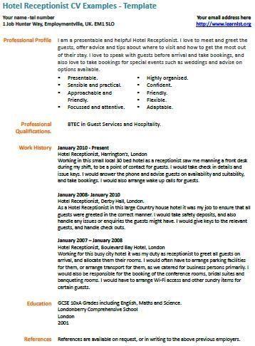 Hotel Receptionist Cv Example Cv Examples Resume Examples In 2020 Cv Examples Resume Examples Job Resume Samples