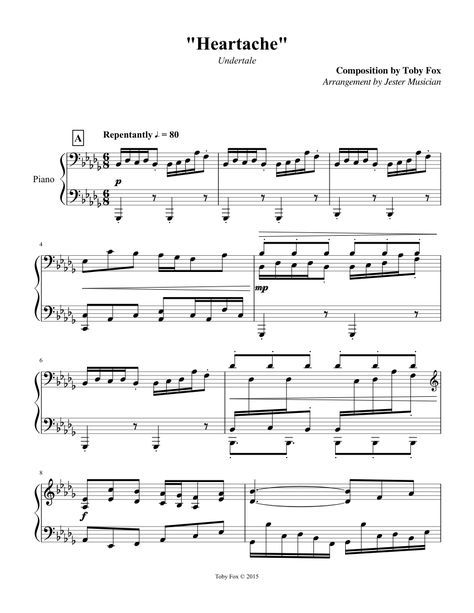 Sheet Music Made By Jester Musician For Piano Undertale Music