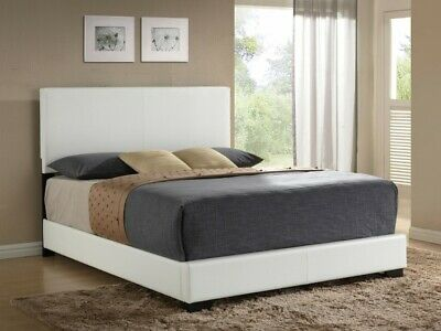 King Faux Leather Bed White Wooden, Ireland Queen Faux Leather Bed Black