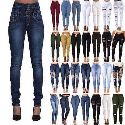 Women High Waisted Ripped Stretchy Slim Skinny Jeans Denim