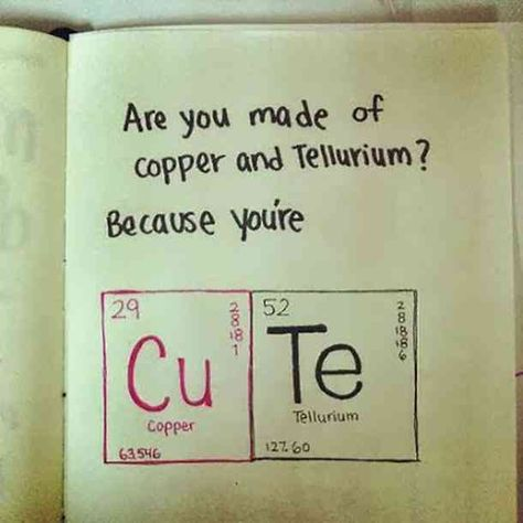 """Are you made of Copper and Tellurium? Because you're CuTe."" — Unknown  #cutequotes #quotes #nicequotes #smile Follow us on Pinterest: www.pinterest.com/yourtango"