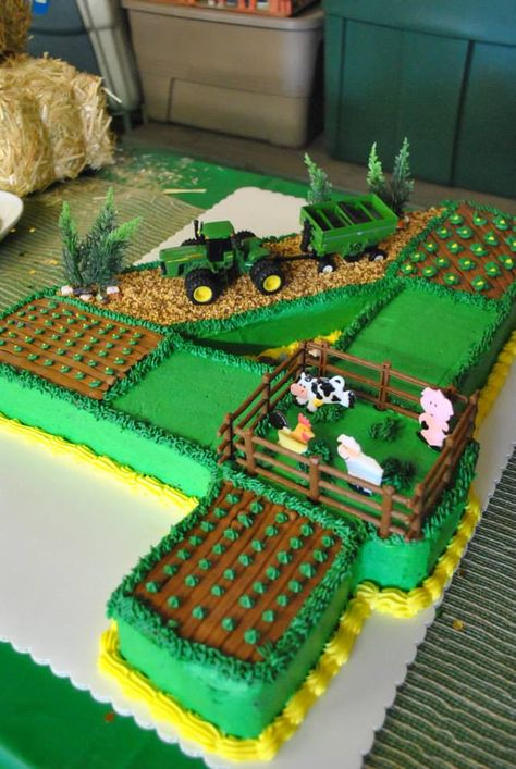 John Deere tractor farm field cake - Nathan likes the individual fields. Farm Birthday, Birthday Parties, Birthday Ideas, Farmer Birthday Cake, Birthday Cakes For Boys, Tractor Birthday Cakes, Dirt Bike Birthday, John Deere Party, Farm Cake