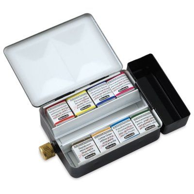 Schmincke Horadam Aquarell Half Pan Paint Metal Set With 12 Open