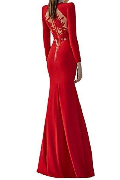 7efd819f7756 The Frock Shop Red Bandage Long Sleeve Mermaid Evening Gown | Poshare  Fitted and stretchy red bodycon baggage gown with lace detail at back.