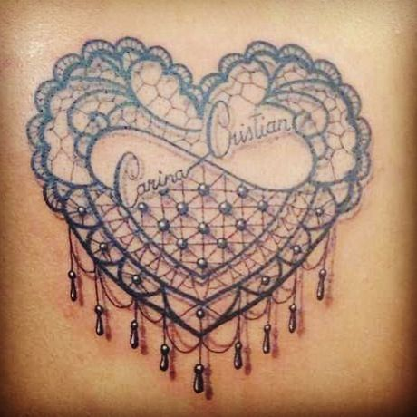 My Tattoo A Lace Heart With An Infinity Symbol Inside With My