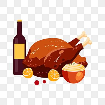 Happy Thanksgiving With Dessert Drink And Chicken Drink Vector Illustration Png And Vector With Transparent Background For Free Download Happy Thanksgiving Thanksgiving Wine Happy Christmas Greetings