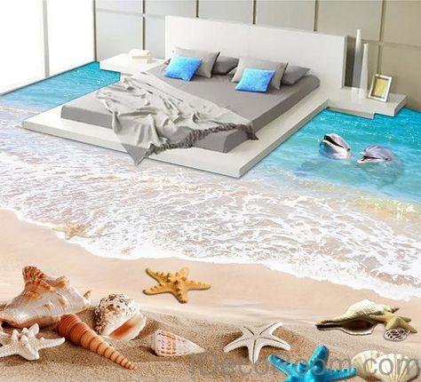 Dophin Beach Blue Star Fish Shell 00011 Floor Decals 3D Wallpaper Wall Mural Stickers Print Art Bathroom Decor Living Room Kitchen Waterproof Business Home Office Gift