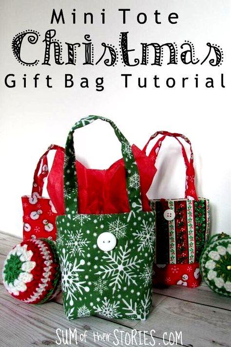 Mini tote Christmas gift bag tutorial #sewingtutorials #christmascraftsdiy #christmasdecorationideas