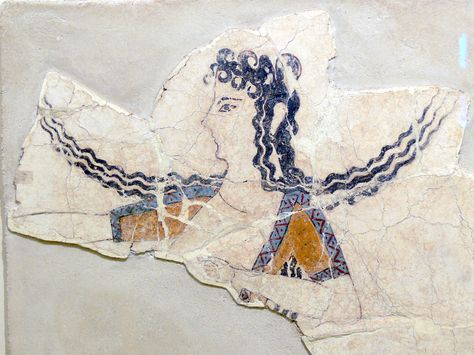 Fresco Fragment Of A Dancing Woman Knossos 1600 1450 Bc With