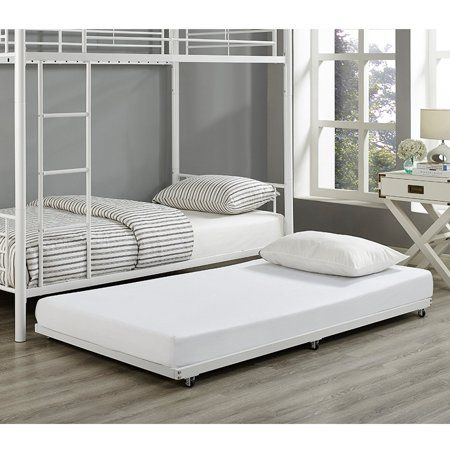 Walker Edison Twin Roll Out Metal Trundle Bed Frame White