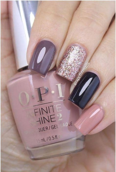 Glossy Lavender, Black, And Blush With Glitter Accent Nail