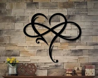 Personalized Heart Infinity Symbol With Heart And Custom Etsy Heart Wall Decor Metal Wall Art Heart Wall