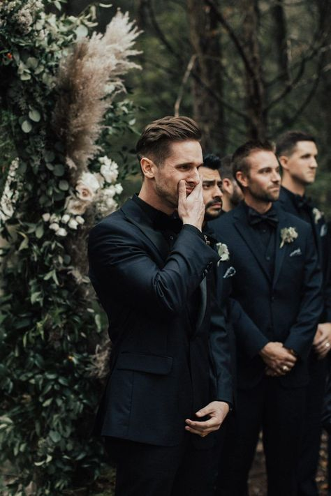 Enchanting Autumn Nashville Wedding at Drakewood Farm The deep colors and all black suits made this farm wedding wildly moody + romantic image by Katherine Joy Photography Perfect Wedding, Dream Wedding, Summer Wedding, Wedding Beauty, Trendy Wedding, Wedding Makeup, Boho Wedding, Wedding Hijab, Wedding Men