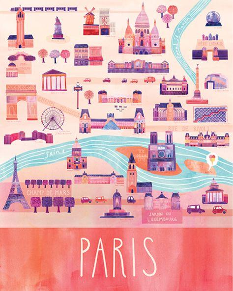 Paris themed artwork for the girls' room
