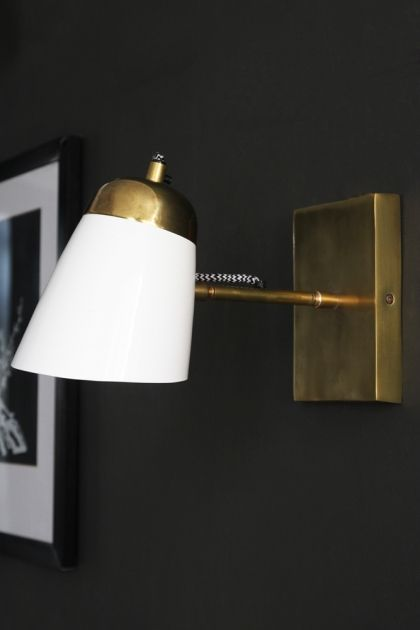 The Mortimore Wall Light Antique Brass Gloss White Brass Wall Light Wall Lights Wall Lights Bedroom