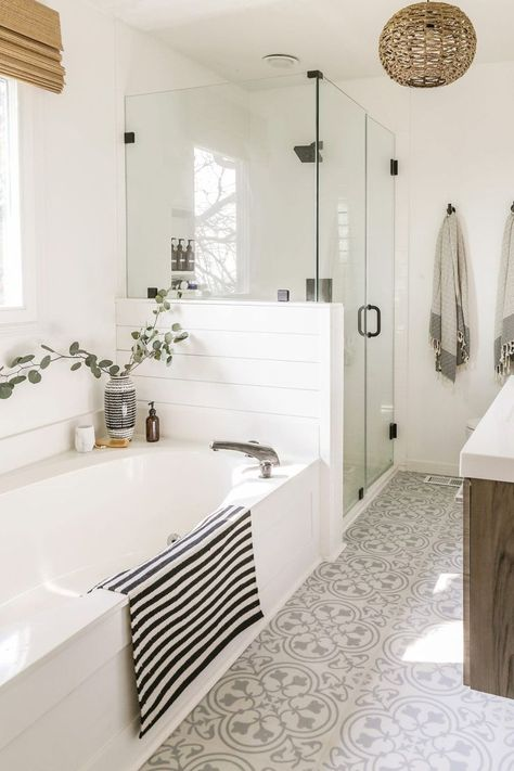Reveal: Boho Farmhouse Master Bathroom Remodel with Decor Sources. Bathroom with white subway tiles, white& The post Reveal: Boho Farmhouse Master Bathroom Remodel with Decor Sources appeared first on England Gardens. Bad Inspiration, Bathroom Inspiration, Cool Bathroom Ideas, Simple Bathroom Designs, Bathroom Shower Designs, Master Bathroom Designs, Bath Ideas, Shower Ideas, Interior Design Minimalist