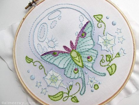 Luna Moth Butterfly Embroidery Kit