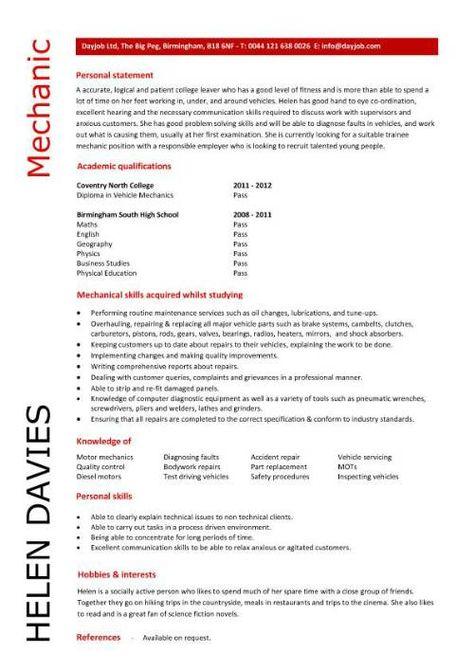 Example of CV Career tips Pinterest Resume examples - mechanic resume