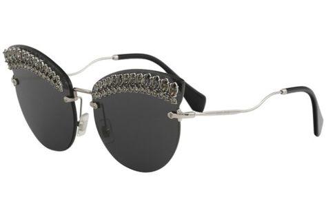 6f32180e2c5c Miu Miu Women s SMU58T SMU 58T MPG 5S0 Silver Fashion Cat Eye Sunglasses  65mm