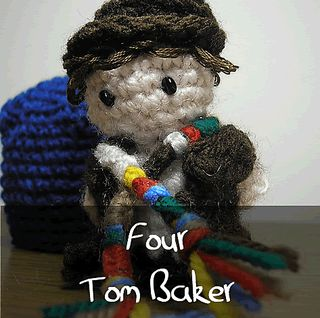 Dr Who - Fourth Doctor by Nyss Parkes (These mini Doctors do come in one single download, but they simply must be represented individually!) Free Pattern: http://www.ravelry.com/download/146980/free  #TheCrochetLounge #DrWho Collection