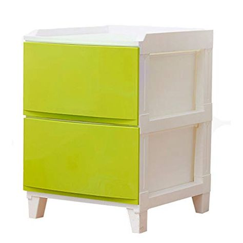 2 Tiers Shelves Storage Drawers Cubes Side Cabinet Bedside Table Nightstand Unit