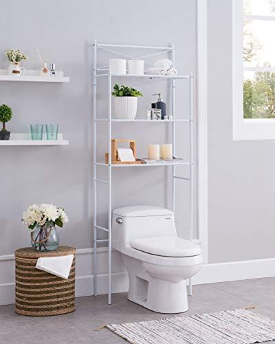 None White Metal 3 Shelf Bathroom Space Saver Storage Organizer Over The Rack Toilet C White Bathroom Storage White Bathroom Cabinets Bathroom Cabinets Designs