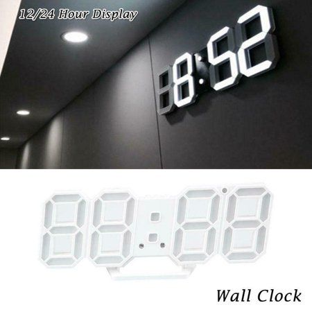Digital 3d Led Wall Clock Alarm Snooze Watch 12 24 Hour Display Usb Modern Walmart Com Led Wall Clock Bathroom Clock Wall Clock