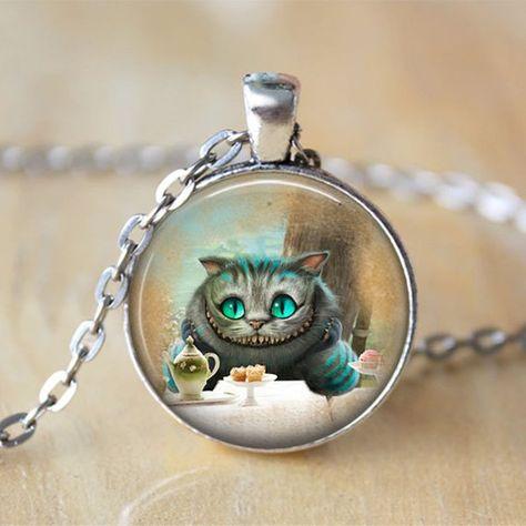 • Gato de Cheshire Alicia en el país de las maravillas joyas • Alicia en el país de las maravillas collar • cuento • cuento joyería del collar de