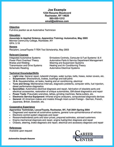 To Write An Automotive Technician Resume Is Similar With Other Resumes The Parts Of The Body Are Many In Commons With The Other Resumes Overall The Check
