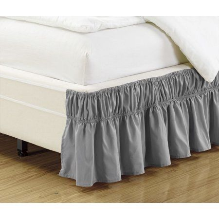 Elastic Wrap Around Wrap Around Elastic Easy Change Brushed Microfiber Ruffled Bed Skirt Walmart Com Ruffle Bedding Bedskirt Solid Bed Ruffled bed skirt queen