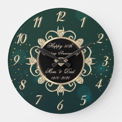 Chic Green Diamonds 50th Wedding Anniversary Large Clock Zazzle Com In 2020 50th Wedding Anniversary 50th Wedding One Year Anniversary Gifts