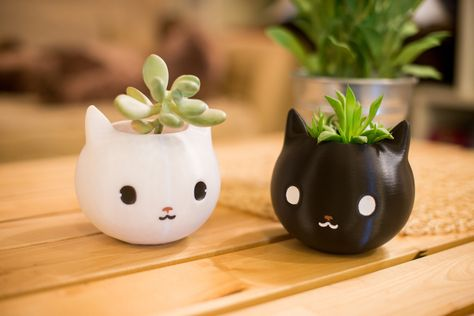 Excited To Share This Item From My Etsy Shop Cat Planter Lover Gift Black Back School 3d Printed Kitty Animal