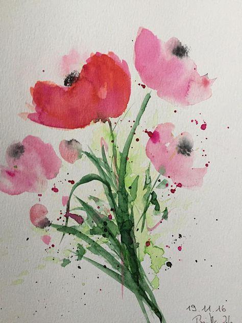 Original Aquarell Aquarellmalerei Blumen Mohnblumen Bild Kunst Art Watercolor Flowers Handmade Mit Bildern Aquarellmalerei Blumen Aquarell Aquarell Mohnblumen