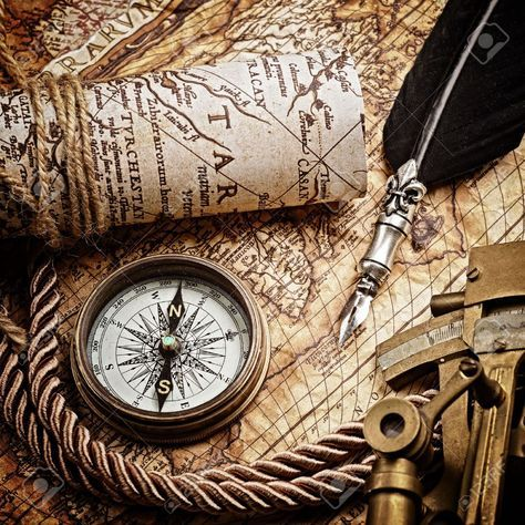 Vintage Map with Astrolabe Compass and Navigation Instruments | Vintage compass, Old map, Map compass