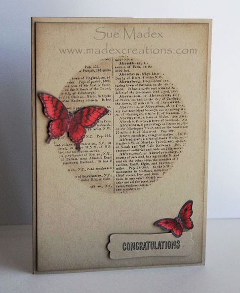Stampin' Up! ... handmade card ... kraft ... masked/stencil circle stamped with book print background and sponged around the edges for depth ... bright red die cut butterflies ... great card!