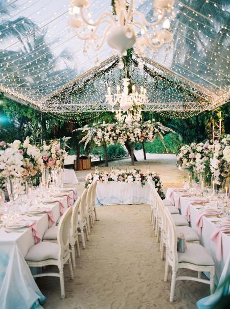 Clear Tented Fairytale Wedding Reception With Chandeliers And Beautiful Floral Design Weddingreception Floral Arch Garden Party Wedding Destination Wedding