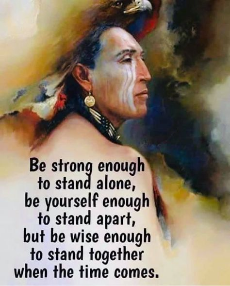 Be strong enough to stand alone ; be yourself enough to stand apart but wise enough to stand together when the time comes. Native American Prayers, Native American Spirituality, Native American Wisdom, Native American History, American Indians, American Indian Quotes, Native American Pictures, Wisdom Quotes, Life Quotes