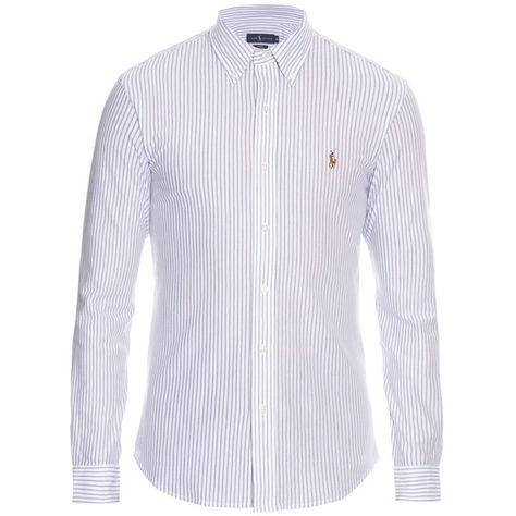 febcfdac26f3 Polo Ralph Lauren Slim-fit striped long-sleeved cotton-piqué shirt (4.080  RUB) ❤ liked on Polyvore featuring men's fashion, men's clothing, men's  shirts, ...