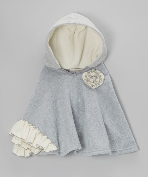 Look at this Million Polkadots Heather Gray & Ivory Ruffle Poncho - Infant, Toddler & Girls on #zulily today!