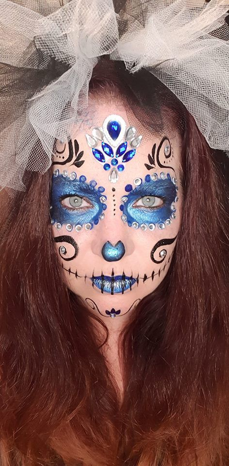 Cute Simple Diy Sugar Skull Day Of The Dead Makeup Face Paint Idea For Halloween Day Decoration Day Dead Makeup Halloween Makeup Scary Day Of Dead Makeup