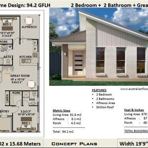 Granny Flat Plan Small And Tiny House Plan Guest House Etsy In 2021 House Plans Australia Small House Design House Plans For Sale
