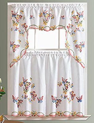 Most Delightful Three Piece Kitchen Butterfly Curtain Set ...