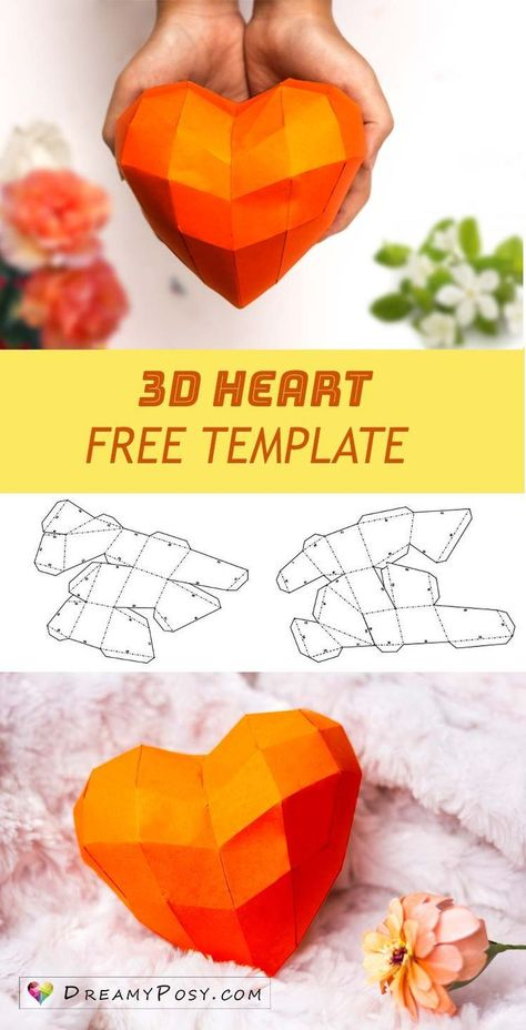 Free Template To Make Paper 3d Heart For Your Valentine Hearts Paper Crafts 3d Paper Crafts Paper Crafts