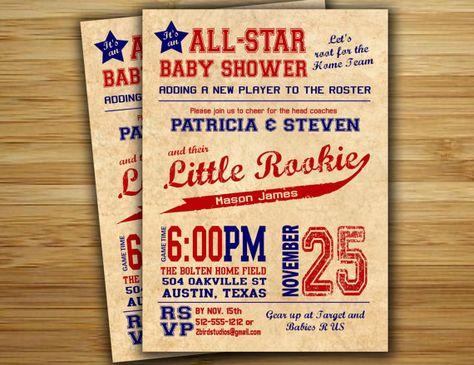 Baseball baby shower invitation - baseball boy baby shower  invite- DIY baseball couples shower sports printable decorations via Etsy